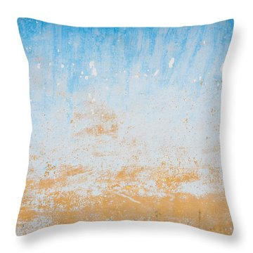 Dilapidated Beige And Blue Wall Texture Throw Pillow