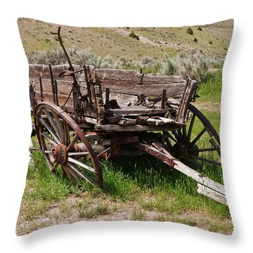 Dilapidated Wagon With Leaning Wheels Throw Pillow by Sue Smith