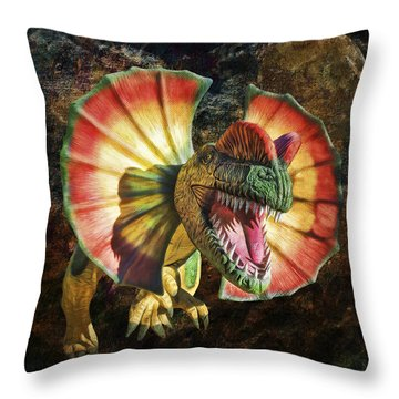 Dilophosaurus Spitting Dinosaur Throw Pillow