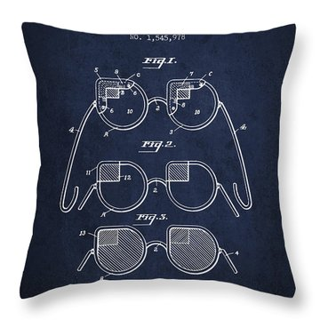 Dimmer Glasses Patent From 1925 - Navy Blue Throw Pillow