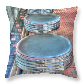 Diner Stools Throw Pillow by Kathleen Struckle