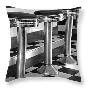 Diner Stools Throw Pillow
