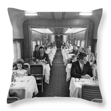 Diners In Railroad Dining Car Throw Pillow