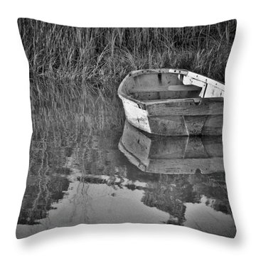 Dinghy In The Marsh Throw Pillow