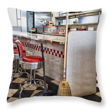 Dingy Diner Throw Pillow by Trever Miller