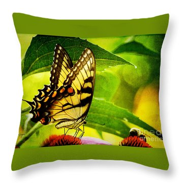 Dining With A Friend Throw Pillow by Lois Bryan