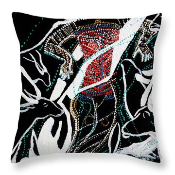 Throw Pillow featuring the painting Dinka Dance by Gloria Ssali