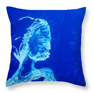 Dinka Painted Lady - South Sudan Throw Pillow by Gloria Ssali
