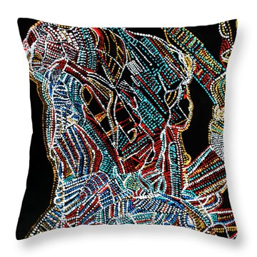 Throw Pillow featuring the painting Dinka Warrior by Gloria Ssali