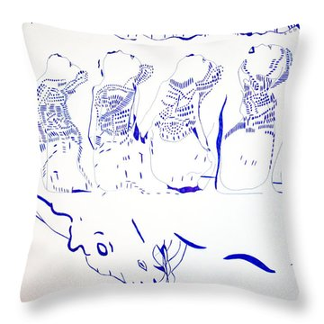 Dinka Wise Virgins -south Sudan Throw Pillow