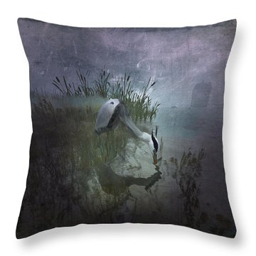 Throw Pillow featuring the digital art Dinner Alone by Kylie Sabra