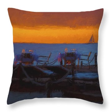 Throw Pillow featuring the photograph Dinner At Sunset  ... by Chuck Caramella