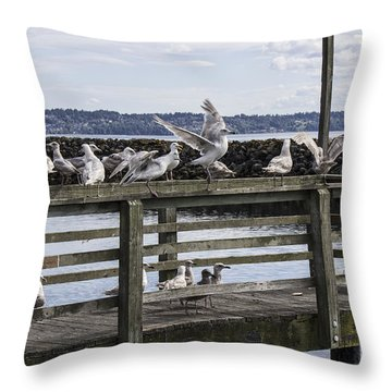 Dinner At The Marina Throw Pillow