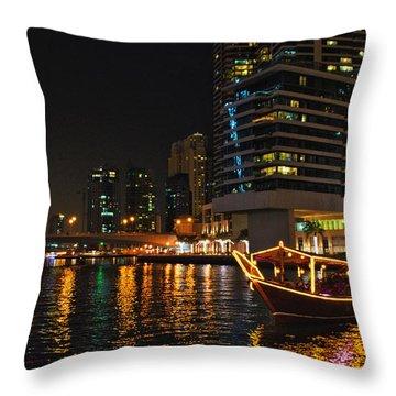 Throw Pillow featuring the photograph Dinner Cruise Dubai by John Swartz