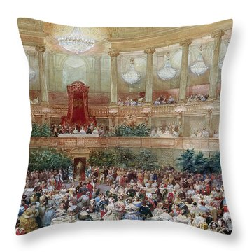 Dinner In The Salle Des Spectacles At Versailles Throw Pillow