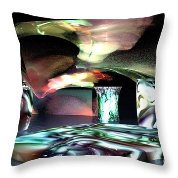 Throw Pillow featuring the digital art Dinnerware by Jacqueline Lloyd