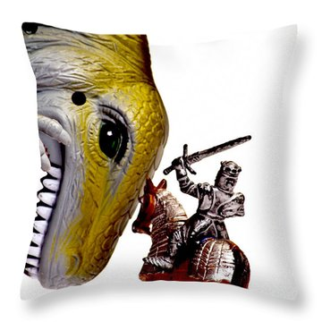 Dino Knight Throw Pillow