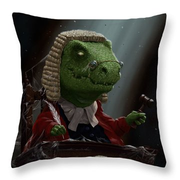 Dinosaur Judge In Uk Court Of Law Throw Pillow