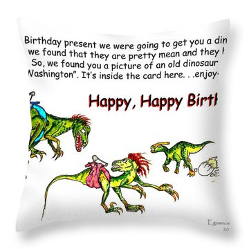Dinosaur Kids Birthday Throw Pillow