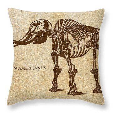 Dinosaur Mastodon Americanus Throw Pillow by Aged Pixel