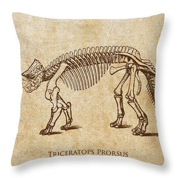 Dinosaur Triceratops Prorsus Throw Pillow by Aged Pixel