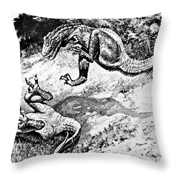 Dinosaurs Fighting Throw Pillow