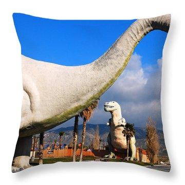 Dinosaurs Of Cabazon Throw Pillow by James Kirkikis
