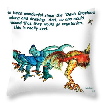 Dinosaurs Quit Drinking Go Vegetarian Throw Pillow