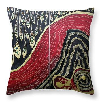 Dipped In Gold Diptich Throw Pillow