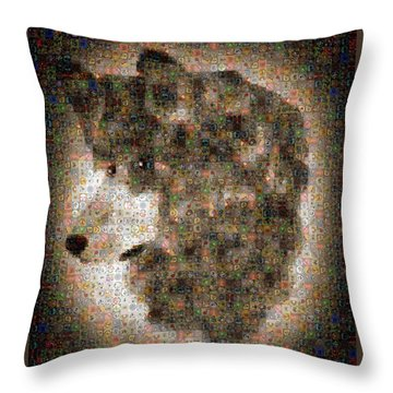 Throw Pillow featuring the painting Dire Wolf Mosaic by Paula Ayers