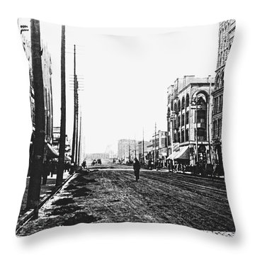 Downtown Dirt Spokane C. 1895 Throw Pillow by Daniel Hagerman