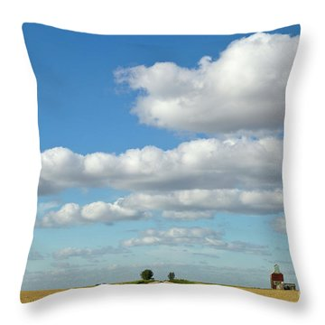 Dirt Road And Grain Elevator Williston Throw Pillow