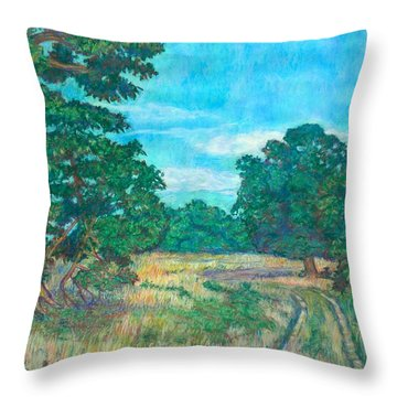 Throw Pillow featuring the painting Dirt Road Near Rock Castle Gorge by Kendall Kessler