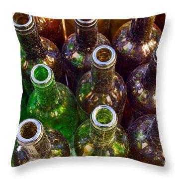 Dirty Bottles Throw Pillow by Carlos Caetano