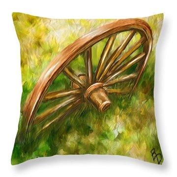 Discarded Wagon Wheel Throw Pillow