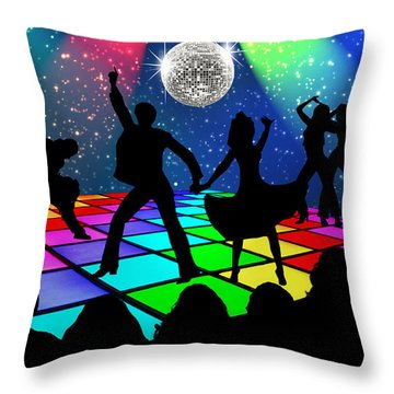Throw Pillow featuring the digital art Disco Fever by Nina Bradica