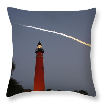 Discovery Booster Separation Over Ponce Inlet Lighthouse Throw Pillow