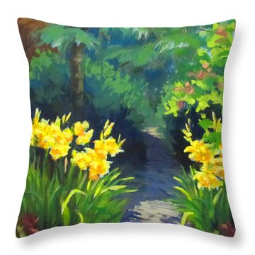 Discovery Garden Throw Pillow by Karen Ilari