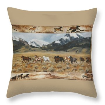 Discovery Horses Framed Throw Pillow