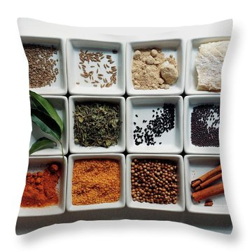 Dishes Of Spices Throw Pillow