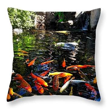 Disney Epcot Japanese Koi Pond Throw Pillow by Joan  Minchak