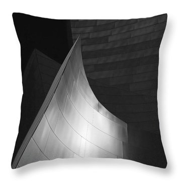 Disney Hall Abstract Black And White Throw Pillow by Rona Black