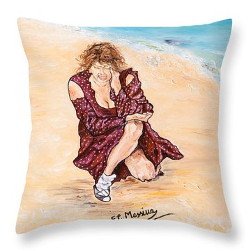 Throw Pillow featuring the painting Disperazione by Loredana Messina