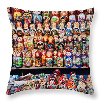 Display Of The Russian Nesting Dolls Throw Pillow by Panoramic Images
