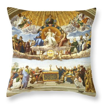 Throw Pillow featuring the painting Disputation Of Holy Sacrament. by Raphael