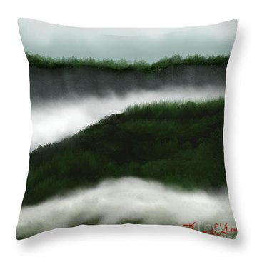 Distant Cliffs Throw Pillow by Thomas OGrady
