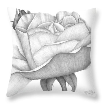 Throw Pillow featuring the drawing Distant Drum Rose Bloom by Patricia Hiltz