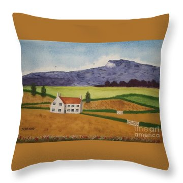 Throw Pillow featuring the painting Distant Hills by John Williams
