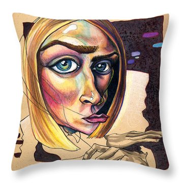Distorted Beauty Throw Pillow