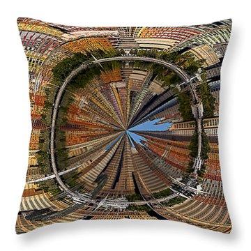 Distorted Lower Manhattan Throw Pillow by Susan Candelario